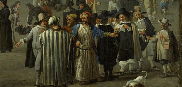 Armenian-merchants-Johannes-Lingelbach,-Gezicht-op-de-Dam-(1656)