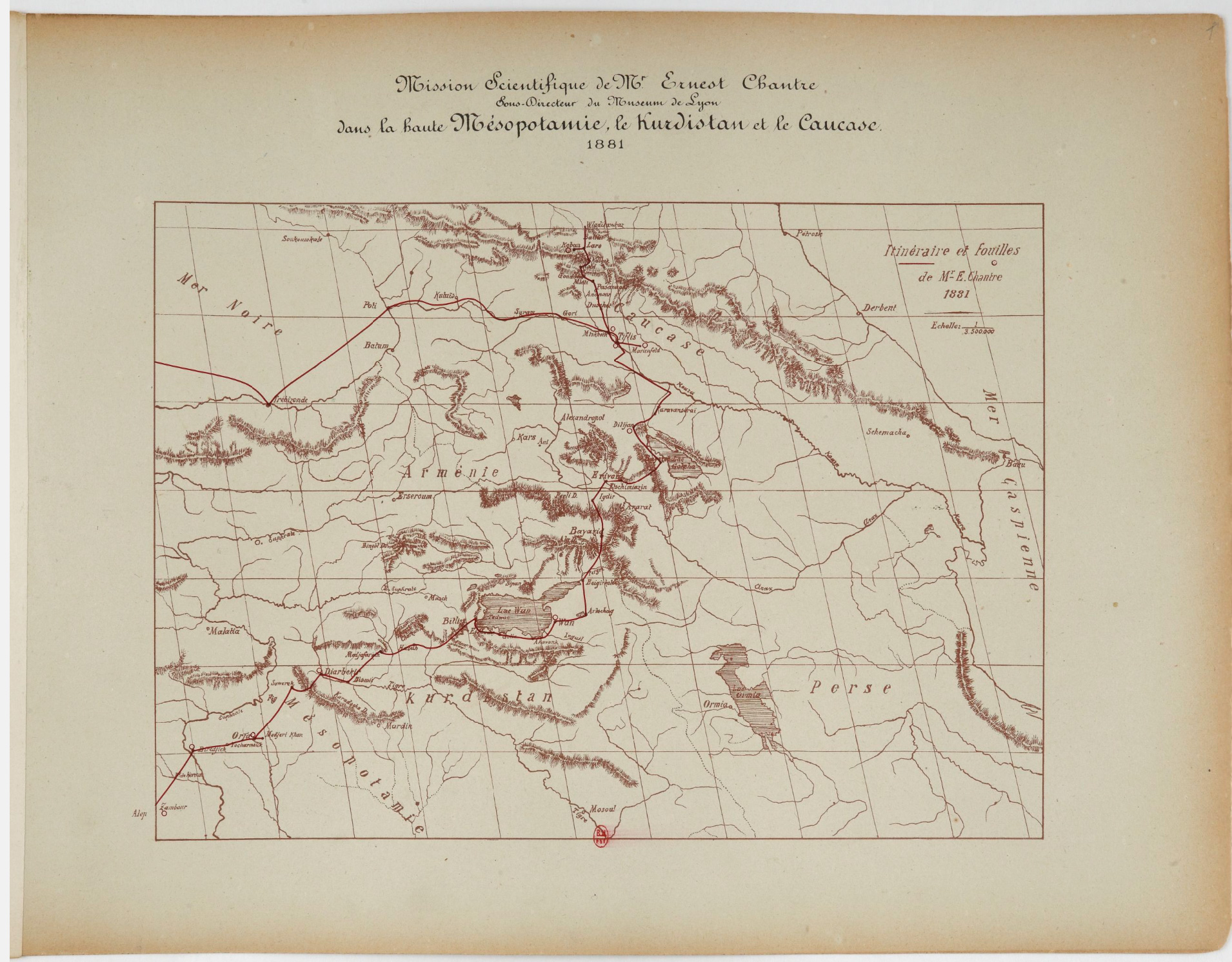 Map of the Caucasus and the rout of the Scientific Mission by Mr Ernest Chantre (1881)