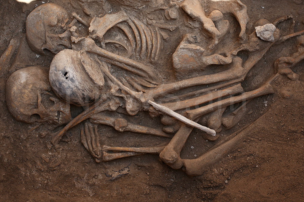 ancient burials Ancient human bones (pictured) thought to be up to 2,500-years-old have been unearthed at sites surrounding the mysterious stone jars scattered across the foothills of central laos.