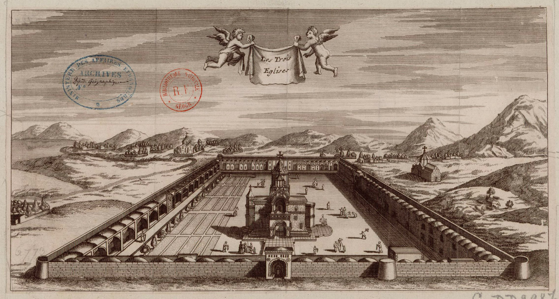 Echmiadzin (three churches)  Illustration from Six Voyages of Jean-Baptiste Tavernier, 1676