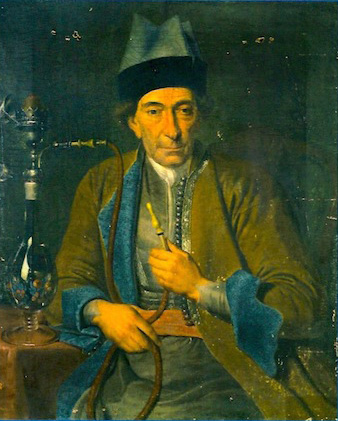Armenian Merchant with a hookah pipe in Amsterdam (1769) by J. Schultz - From the collection of Mkhitarist Church at San Lazaro in Venice.