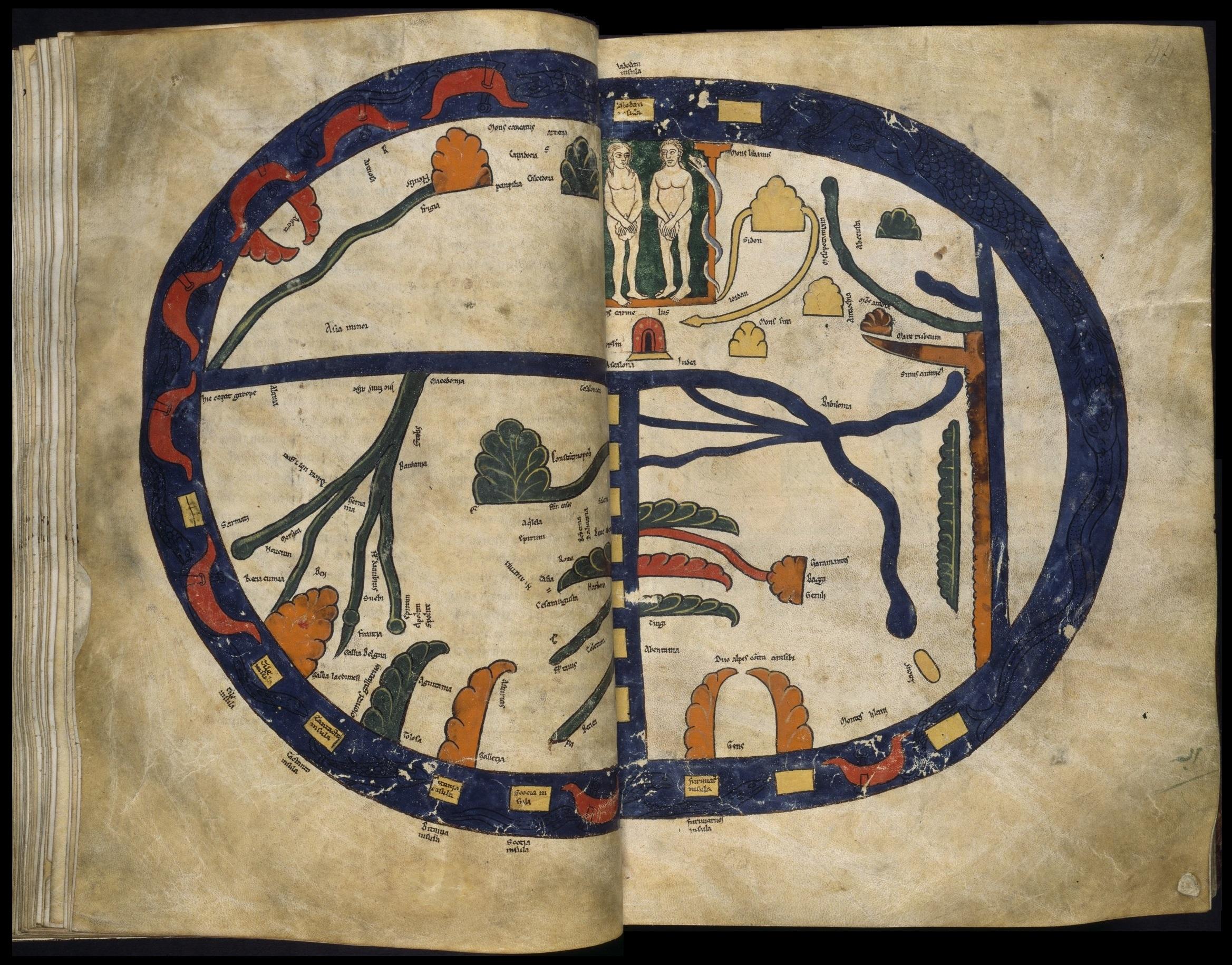 The Manchester (a.k.a. Altamira) Beatus mappamundi, ca. 1175, John Rylands Library, MS. Lat. 8, fols. 43v-44, Manchester, England